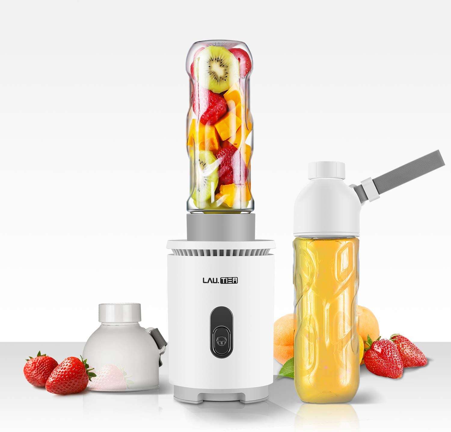 Personal Blender,LauTier,Smoothie Blender for Juicer Shakes and Smoothies,Single Serve Blender with 2x16 OZ Tritan BPA-Free Portable Travel Sports Bottles,Powerful 300W/22000RPM(4 Sharp Blades)
