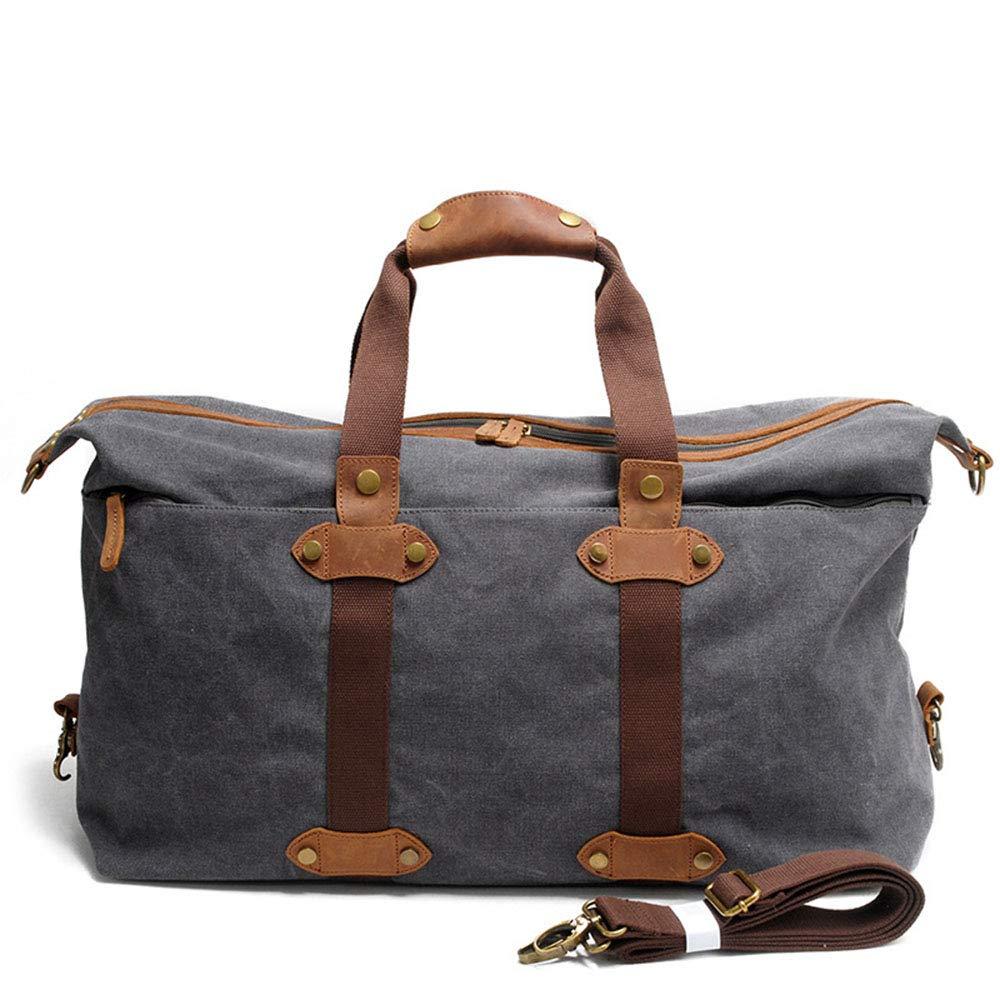 スタイリッシュなシンプルさメンズトラベルバッグポータブル大容量バッグカジュアルキャンバスショルダーバッグ 旅行用ハンドバッグ (色 : 褐色)  褐色 B07QFZ7N9Q