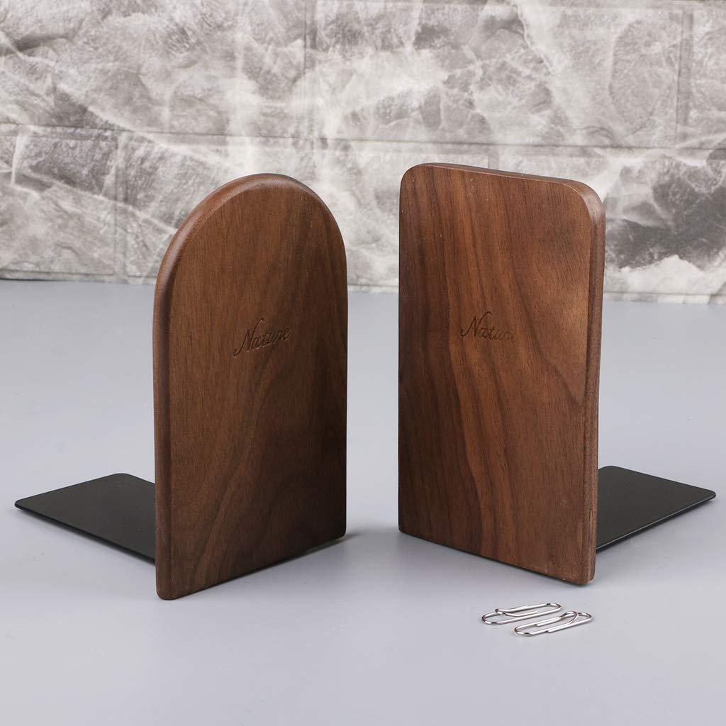 Museourstyty Lot de 2 serre-livres en bois de noyer avec base rembourr/ée antid/érapante 01
