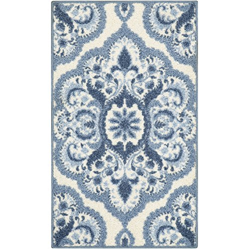 (Maples Rugs Kitchen Rug - Vivian 2 x 3 Non Skid Small Accent Throw Rugs [Made in USA] for Entryway and Bedroom, 1'8 x 2'10, Blue)