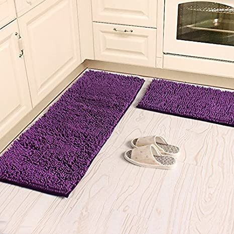 Ustide 2 Piece Kitchen Rug Set Shaggy Chenille Rug Purple Washable Bath Mat  Non
