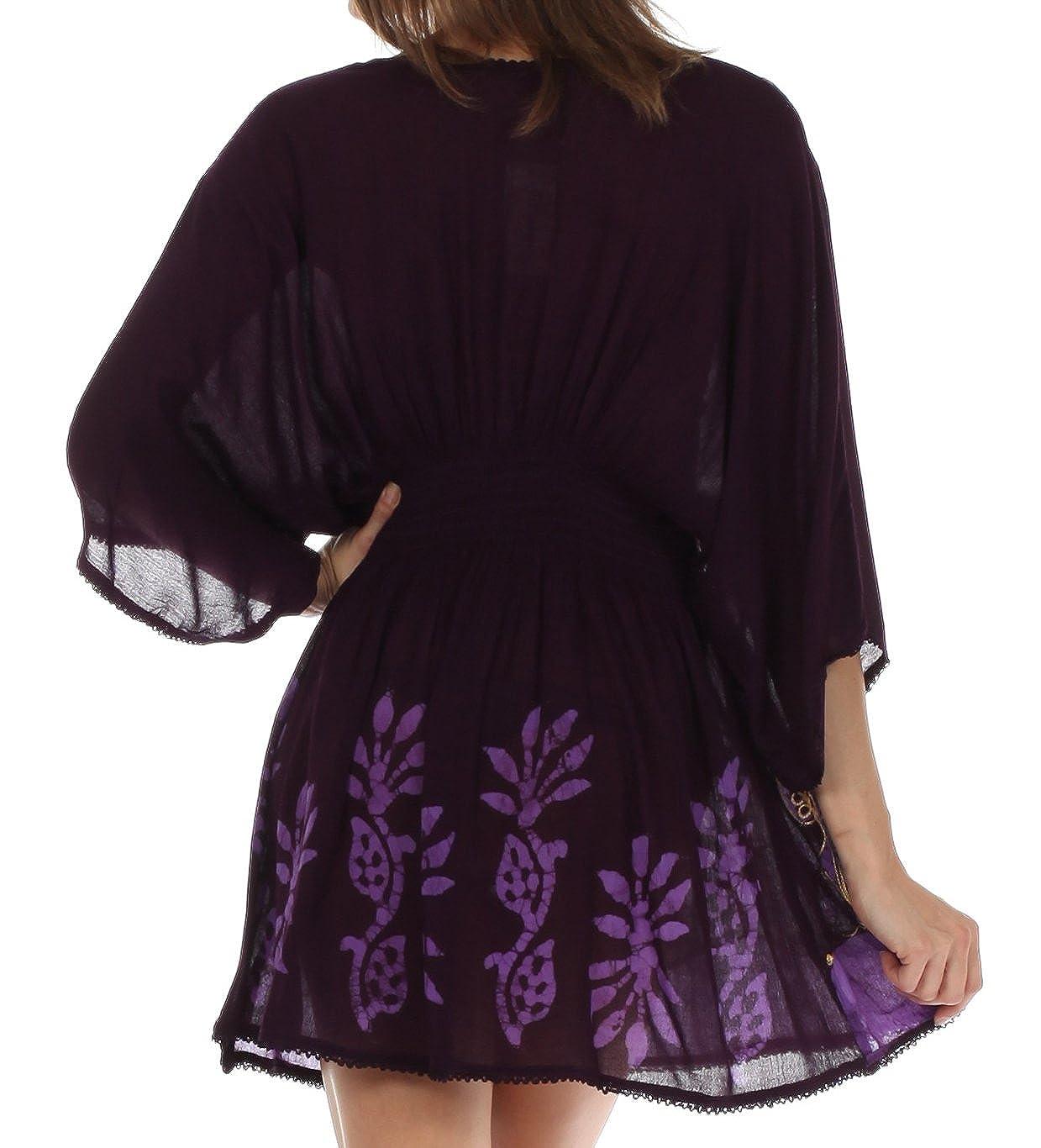 Sakkas Womens Embroidered Batik Gauzy Rayon Tunic Blouse