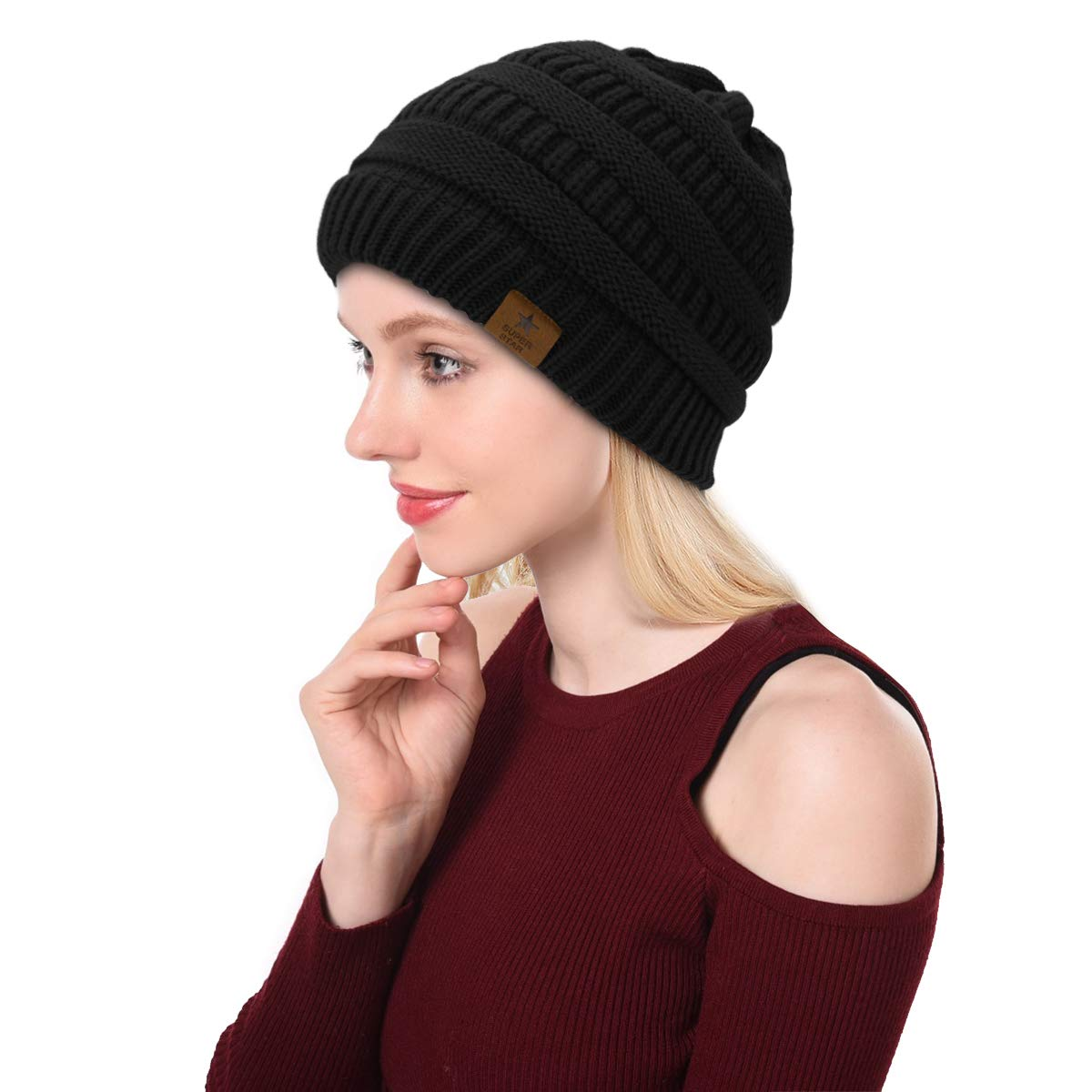 f36ce81ce28 Details about Zando Womens Winter Warm Knit Beanie Hat Thick Slouchy Cap  Unisex Fleece Black