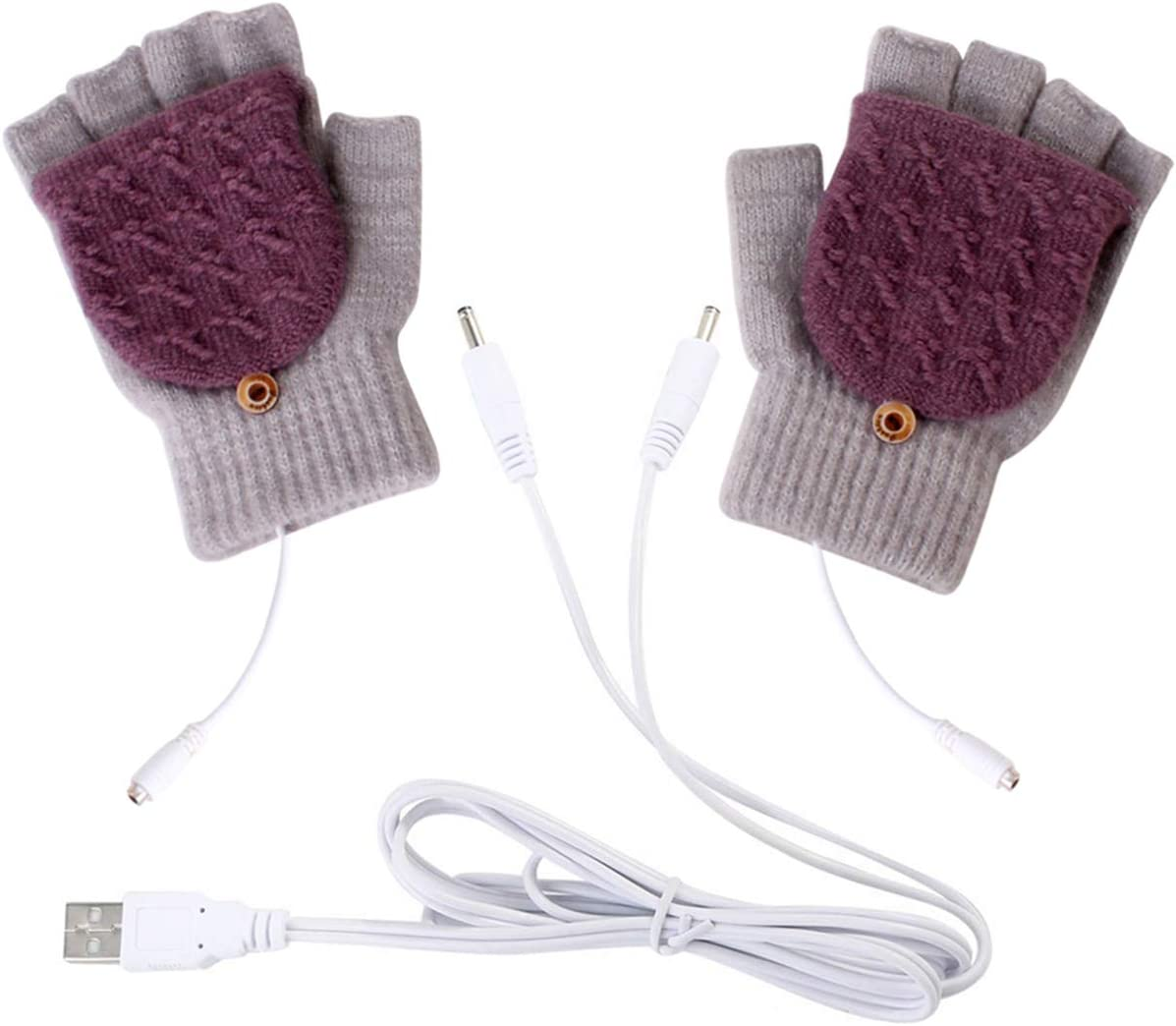 oenbopo USB Heated Gloves Winter Half Fingers USB Heating Warm Gloves (Brown)
