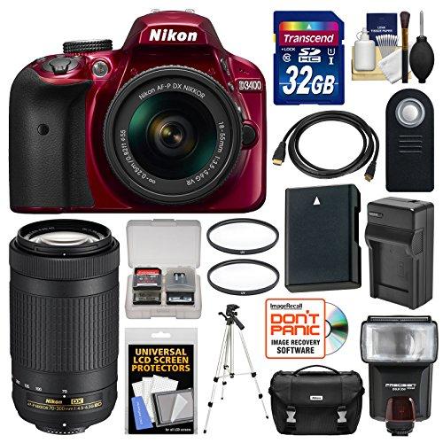 Nikon D3400 Digital SLR Camera & 18-55mm VR (Red) & 70-300mm DX AF-P Lenses with 32GB Card + Case + Flash + Battery & Charger + Tripod + Filters + Kit by Nikon