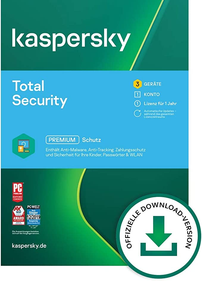 Kaspersky Total Security 2019 3 devices 1 year Windows / Mac / Android Download: Amazon.de: Software
