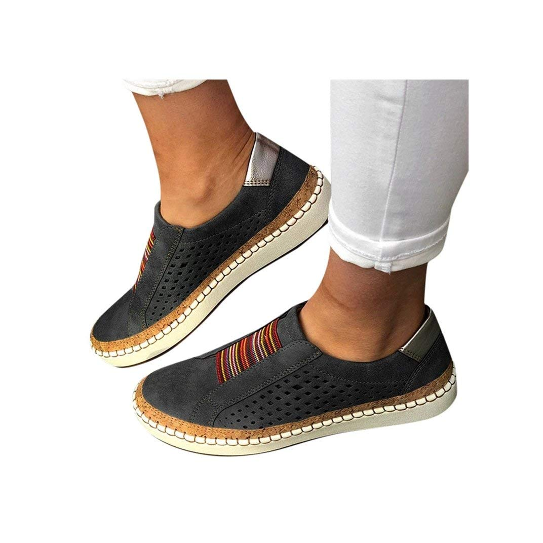 Women's Casual Shoes Slip On Outdoor Sneakers Fashion Comfy Flat Shoes Hollow-Out Round Toe Board Shoes Black by NIKAIRALEY Shoes