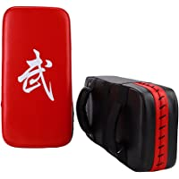 Punching Kick Pad PU cuero pie mano Target Punching Pad para Muay Thai Boxeo Artes marciales Karate Kickboxing práctica de entrenamiento (1 pc, negro, rojo)