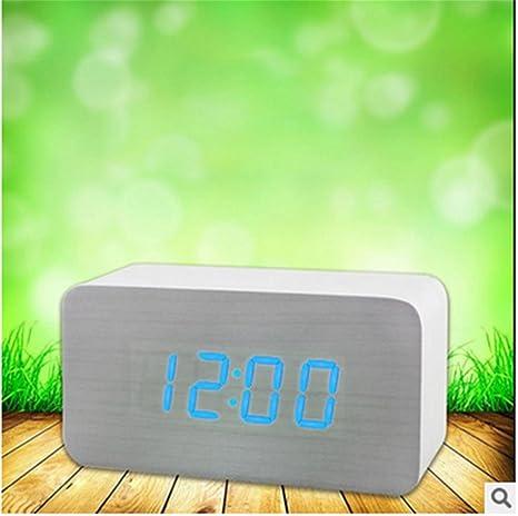 pengweiPequeña mesa rectangular LED madera reloj control digital despertador casero USB Mu Zhong Danping , 1