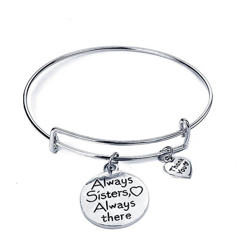 Oillian Unisex Bangle Bracelets Engraved Adjustable Charm Bracelet Inspirational Jewelry Gift for Women Girl Sister Mother Friends