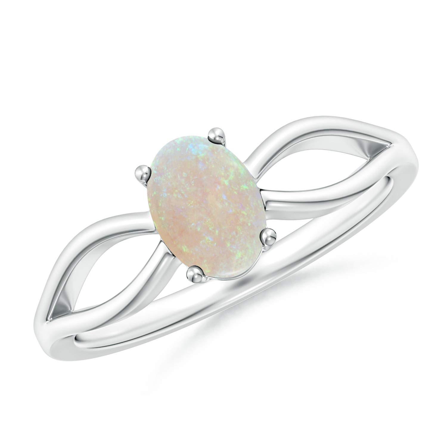 Prong-Set Solitaire Natural Opal Split Shank Ring 7x5mm Opal