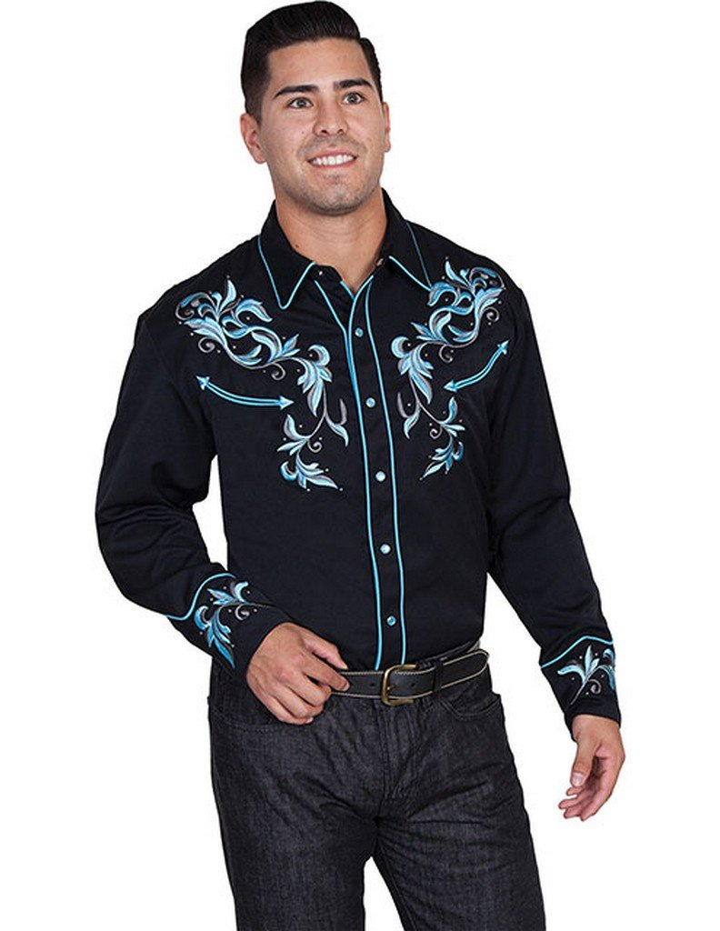 Scully Men's Turquoise Embroidered Shirt Black XX-Large