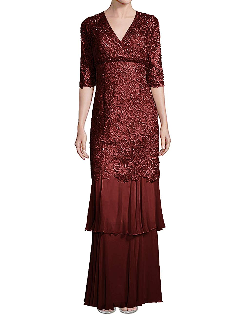 Dark Burgundy H.S.D Mother of The Bride Dresses Lace Formal Gowns Long Evening Dresses Sleeve Tiered