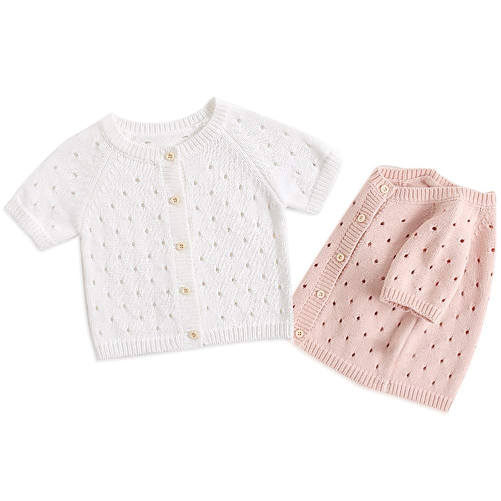 Simplee kids Baby Girl Thin Sweater Solid White Pink Cardigans for Toddler 0-3Years