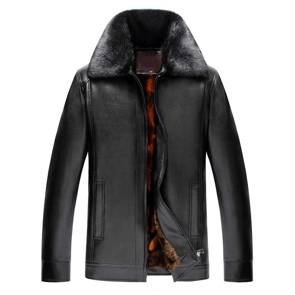 Mens Overcoat,Men's Winter Pure Color Lapel Fur Collar Imitation Leather Coat,Mens Faux Fur Coat(60,Black)