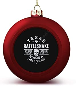 VinMea Christmas Ball Ornaments Decoration WWE Texas Rattlesnake Steve Austin Hell Yeah Premium Christmas Ball for Christmas Tree Christmas Decoration