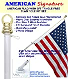 Flag Pole Kit - Includes 3x5 Ft American Flag Made in USA, 6 Foot Tangle Free Flag Pole, and Flagpole Bracket Holder Kit (White)