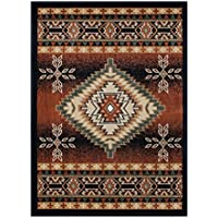 Southwest Native American Area Rug Design Bellagio 357 Black (5 Feet 2 Inch X 7 Feet 3 Inch)