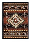 Southwest Native American Area Rug Design Bellagio 357 Black (6 Feet X 9 Feet)