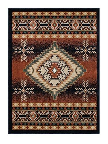 Southwest Native American Area Rug Design Bellagio 357 Black (5 Feet 2 Inch X 7 Feet 3 Inch)