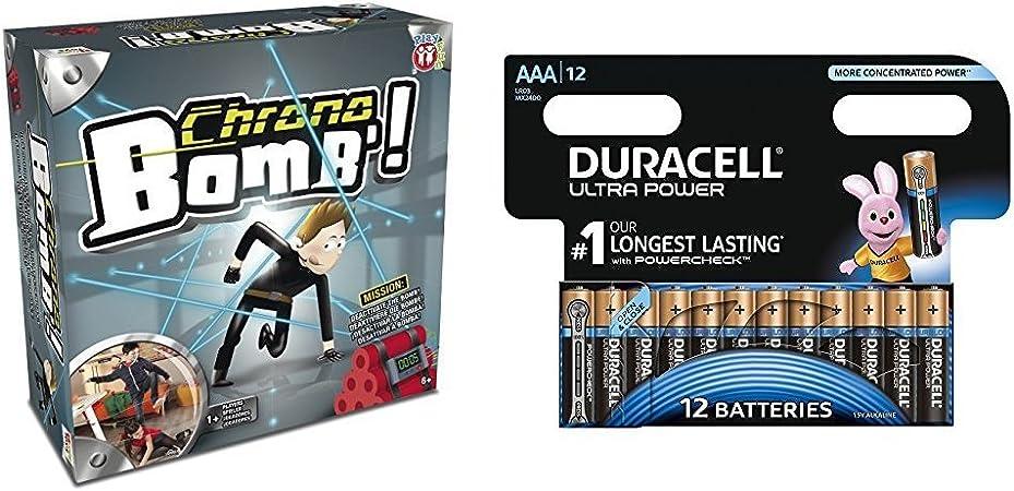 IMC Toys Chrono bomb - Juego de reflejos, mínimo 1 jugador con Duracell Ultra Power - Pack DE 12 Pilas alcalinas AAA: Amazon.es: Juguetes y juegos