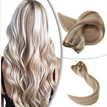 Ugeat 100/% Real Clip in Human Hair Extensions 120g Highlights Blonde 18//22//60#