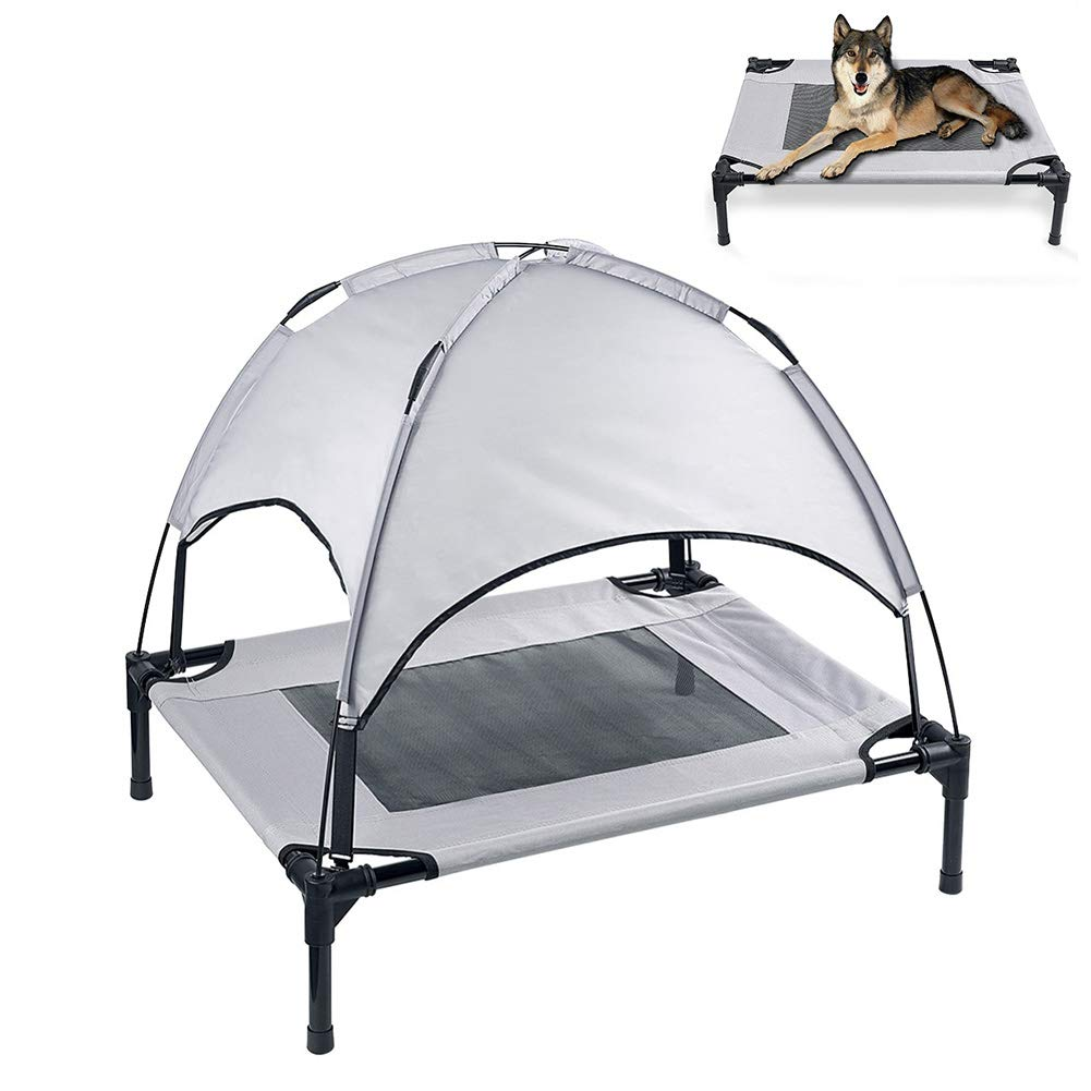 X-Large Elevated Cooling Dog Bed, Outdoor Dog Bed Oxford Cloth Waterproof And Breathable Portable Camping Or Beach with Removable Canopy Tent,XL