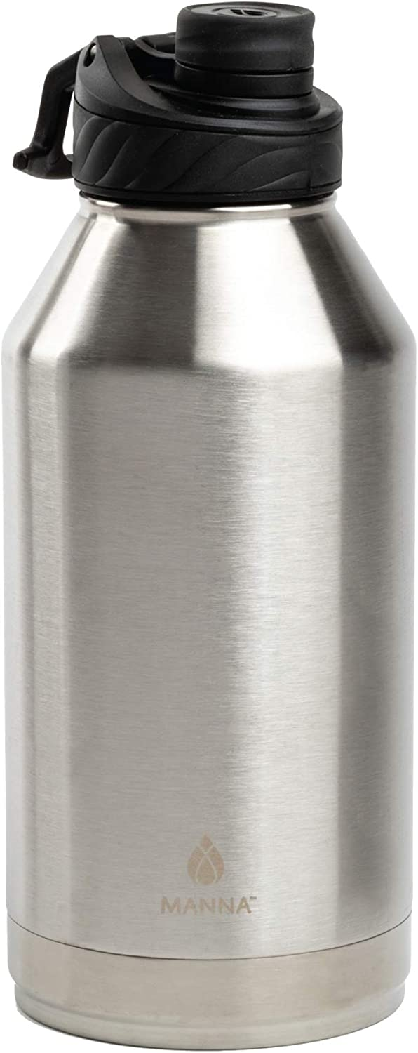 Manna Convoy 64oz Half Gallon Water Bottle Double Wall Vacuum Insulated Stainless Steel Tumbler With Lid, Simple Mouth Spout, Cold And Hot, Reusable Metal Jug Flask Gym And Travel(Stainless, 64 oz)