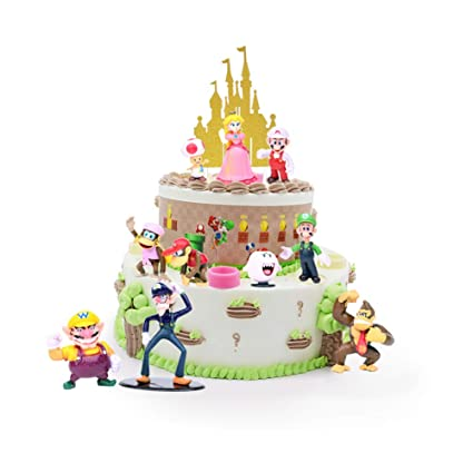 Outstanding Super Mario Brothers Game Scene Birthday Cake Topper Set Personalised Birthday Cards Akebfashionlily Jamesorg