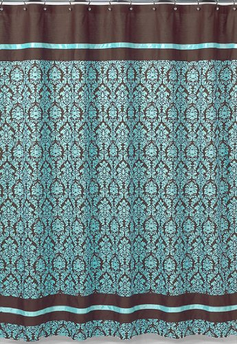 Gentil Turquoise And Brown Bella Kids Bathroom Fabric Bath Shower Curtain By Sweet  Jojo Designs