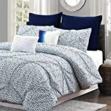 Blue Batik Pintuck Geometric Comforter Set 7pc - 100% Cotton (King)