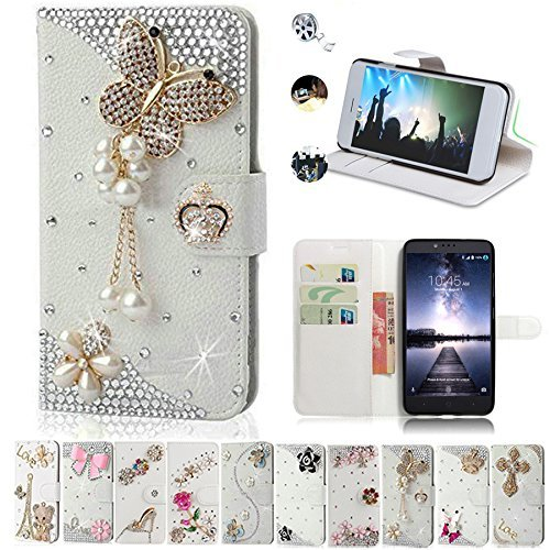 ZTE Zmax Pro Case, ZTE Carry Cases, AMASELL Glitter Bling Diamonds [Stand View] PU Leather Flip & Card Slots Holder Folio Wallet Cases for ZTE Zmax Pro / Carry Z981 Cover, pearl jewelry butterfly (Zte Zmax Phone Case Wallet Bling)