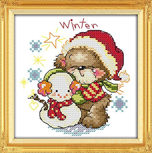 YEESAM ART® New Cross Stitch Kits Advanced Patterns for Beginners Kids Adults - Four Seasons Little Bear-Winter 11 CT Stamped 20x20 cm - DIY Needlework Wedding Christmas Gifts