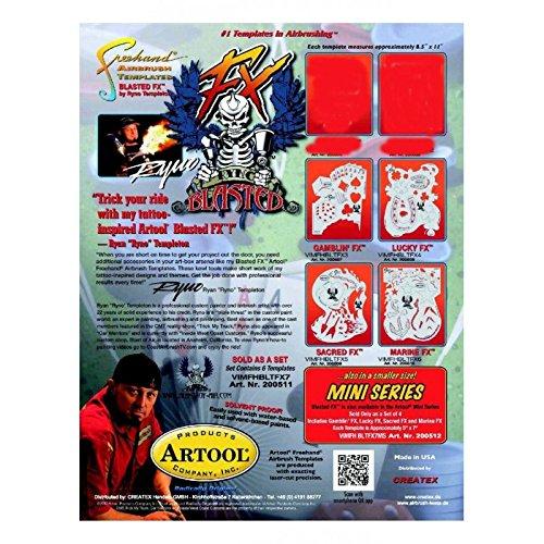 (Artool Blasted FX Freehand Airbrush Templates Mini Series set of 4 5 in. x 7)