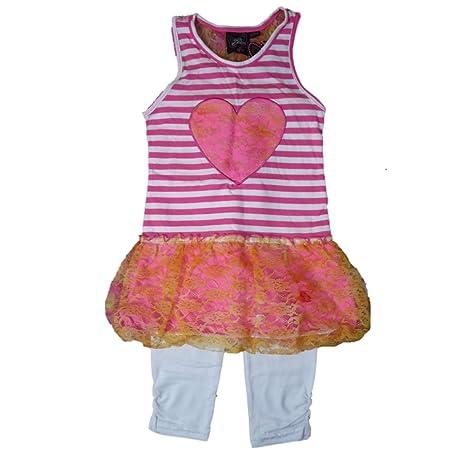 Niños niña Verano túnica vestido + Leggings Outfit Neon Rosa Naranja Rayas Tutu Punta Corazón 128