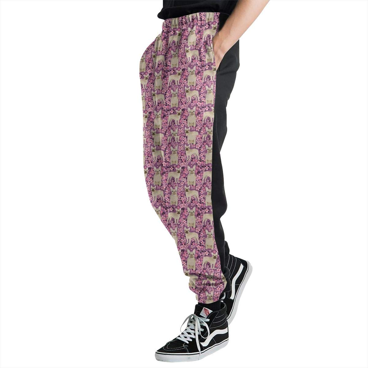 Mens Big and Tall Workout Pants French Bulldog Cherry Blossom Sweatpants with Size S-3XL