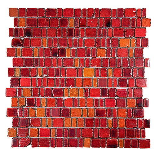 Ice Age Fire Red Rustic Glass Tile - Glass With Hot Red Brick Stone Finish - Perfect for Shower Walls, Kitchen Backsplashes, Floors (4 x 6 Inch Sample) (Tile Red)