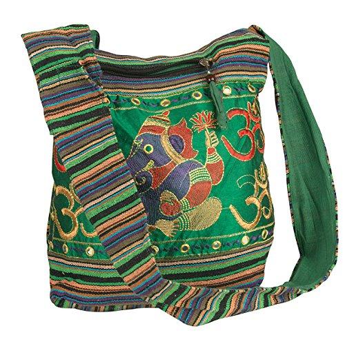 Tribe Azure Green Om Elephant Hobo Shoulder Bag Large Roomy Messenger Crossbody Sling Slouch Boho Casual Fashion Comfortable Everyday Multi Pockets Functional Laptop Books Market - Jacquard Hobo Style Bag