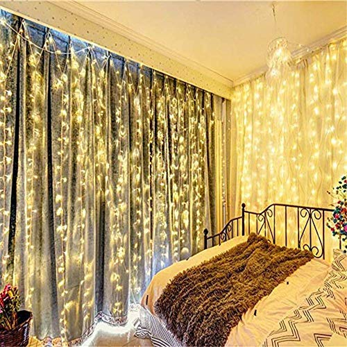 Icicle Lights Twinkle Light Hanging Curtain Window Lights Indoor Outdoor 600 Led Wall String Lights Bedroom Holiday Hotel Wedding Party 19.6ft Length x 9.84ft Width Warm White