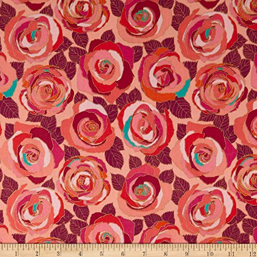 (Andover Mosaic Mosaic Roses Fabric, Radiance, Fabric By The Yard)