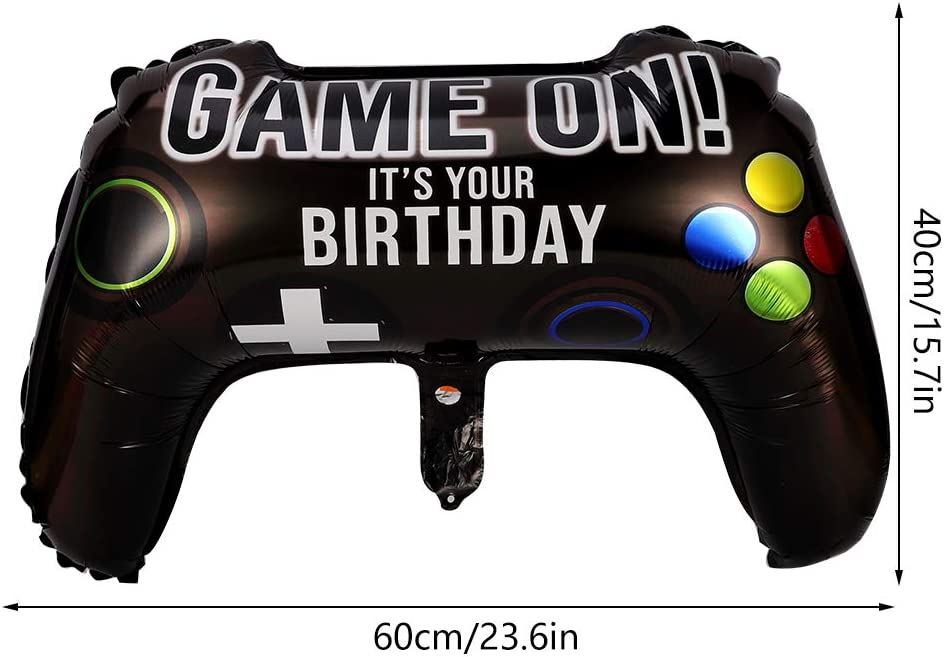 KLEBREIS 4 Packs Video Game Party Balloons Foil Balloon 23.6 x 15.7 Inch Game on Balloons Video Game Controller Aluminum Foil Balloon for Birthday Party and Game Party Decoration