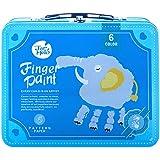Jar Melo Children's Finger Paint Kit;Portable Iron Blue Box;Washable; Non-Toxic;6 Colors