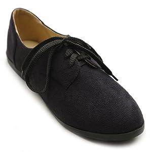 Ollio Women Classic Flat Shoe Lace Up Faux Suede Oxford(6.5 B(M) US, Black)