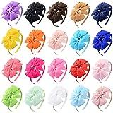 Aneco 8 Pack Girls Grosgrain Ribbon Headband with Bows Tie Hair Hoop Bows Headband Hair Accessories, 8 Colors