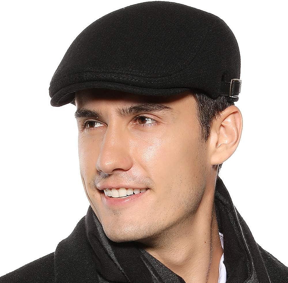 Sumolux Mens Newsboy Cap Winter Cotton Beret Hat Cabbie Flat Cap Black at  Amazon Men's Clothing store