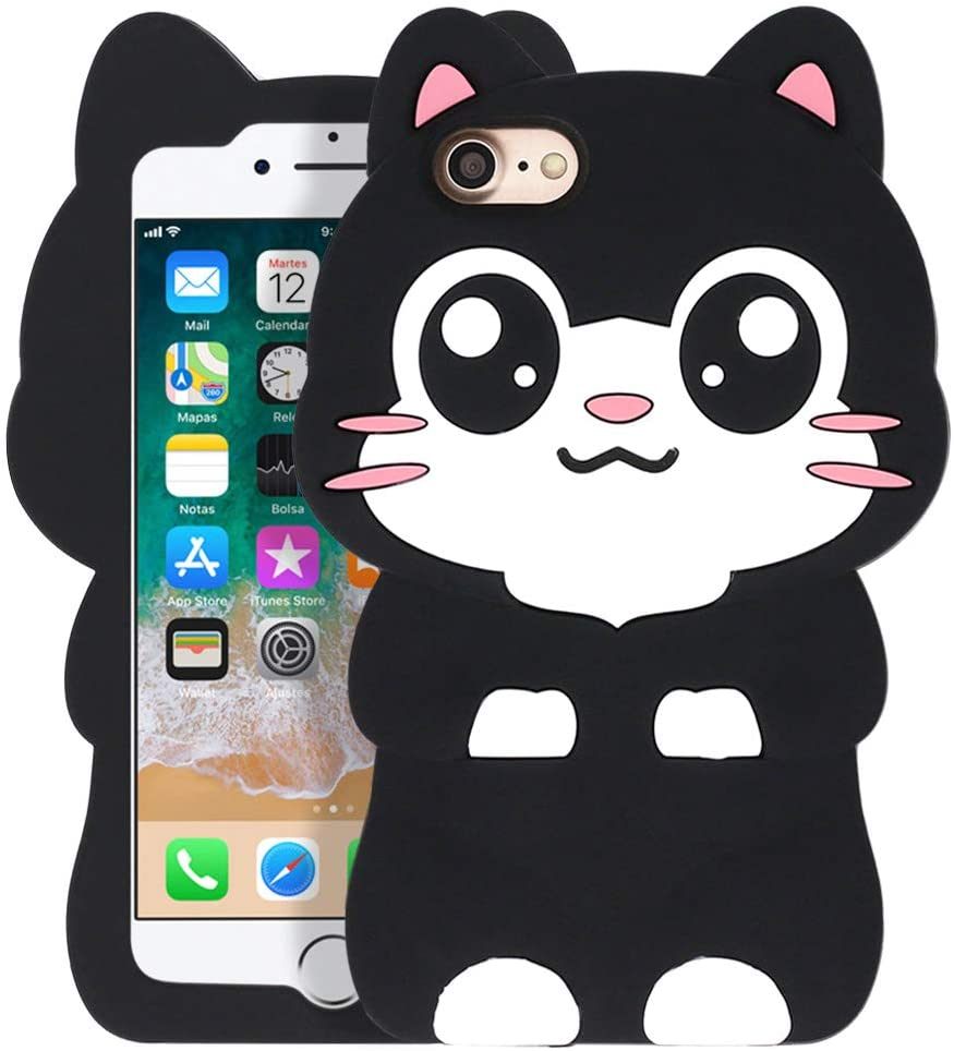 YONOCOSTA Cute iPhone SE 2020 Case, iPhone 7 Case, iPhone 8 Cases, Funny Kawaii 3D Cartoon Big Eye Black Cat Kitty Soft Silicone Full Protection Case Cover Skin for Girls Kids Children Women