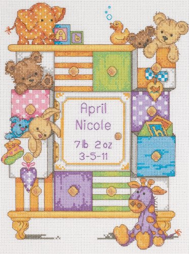 - Dimensions Counted Cross Stitch Kit Baby Drawers Birth Record Personalized Baby Gift, 14 Count White Aida, 9