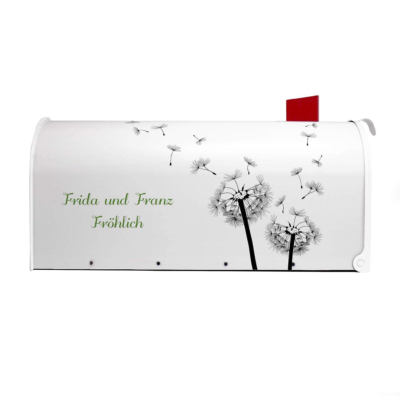 BANJADO US Mailbox inklusive silbernem St/änder Amerikanischer Briefkasten 51x22x17cm mit Motiv Letterbox Stahl wei/ß