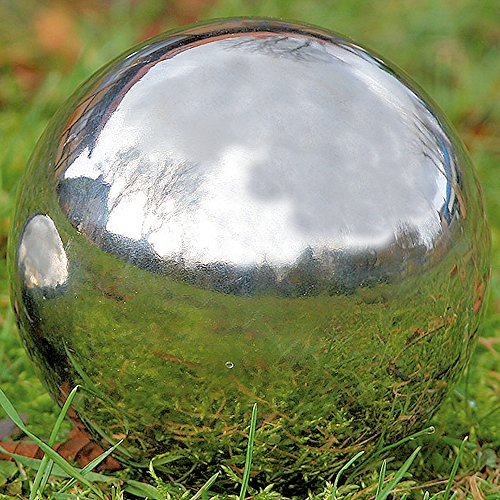 Whole House Worlds The Crosby Street Stainless Steel Gazing Ball for Homes and Gardens, 5 1/4 Inches Diameter, Silver Mirror Globe, By by Whole House Worlds (Image #3)