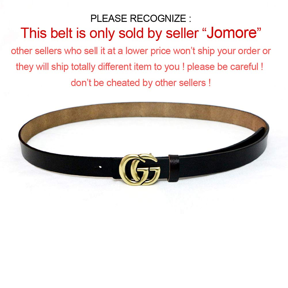 79171003130 Jomore Womens Genuine Leather 0.9″ Retro Vintage Thin Dress Belts For Jeans  With Letter Buckle (Black) at Amazon Women s Clothing store